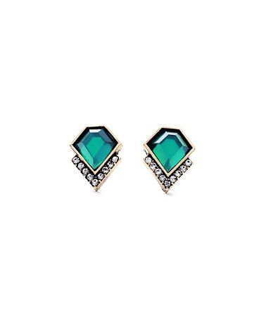 Green & Clear Crystal Stud Earrings #zulily #zulilyfinds