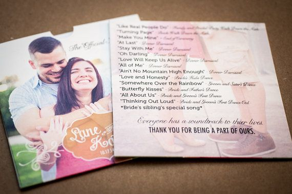 These beautiful CD / DVD sleeves are custom made with your wedding information, pictures and song list. The sleeves are made with premium white