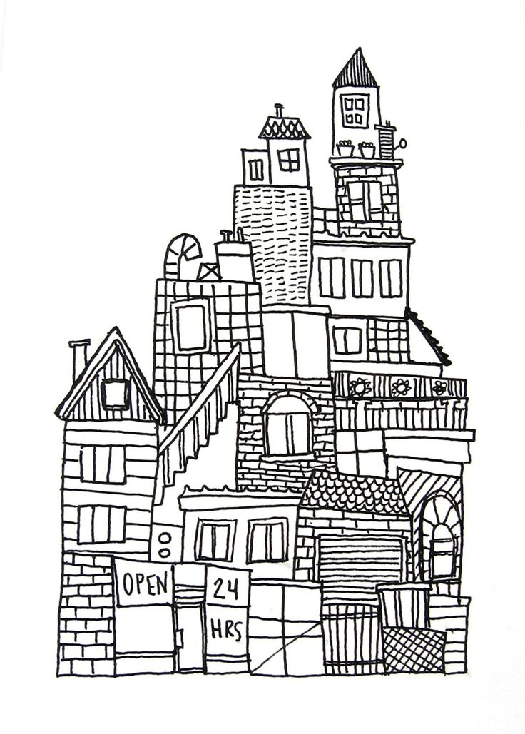 original ink drawing on paper black and white, urban city skyline no. 3, SALE. $15.00, via Etsy.