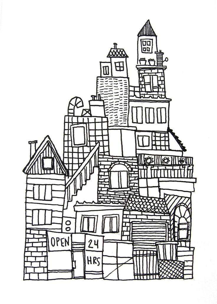 original ink drawing on paper black and white, urban city skyline no. 3, SALE. $15.00, via Etsy.