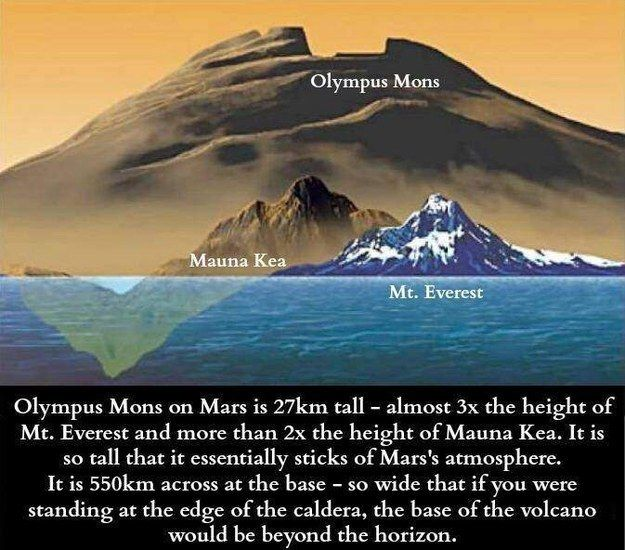 One of those planets above is Mars. On Mars is a mountain called Olympus Mons. It makes Mount Everest look like a little baby: | 26 Pictures That Will Give You Perspective On What Really Matters