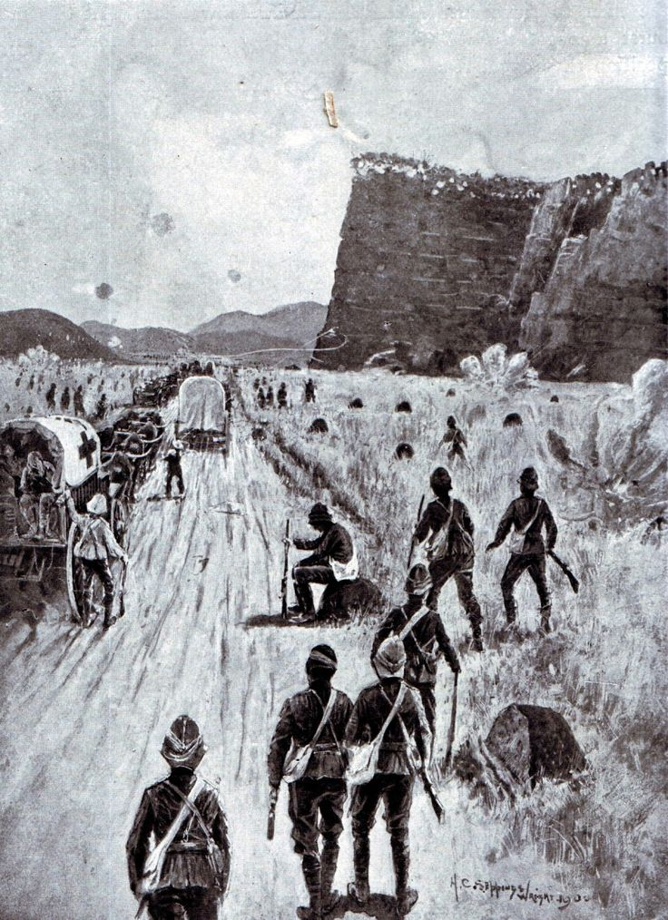 Gatacre's troops return to  Molteno after the Battle of Stormberg on 9th December 1899