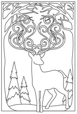 Sunset Stag_image --> For the best coloring books and supplies including colored pencils, watercolors, gel pens and drawing markers, please visit http://ColoringToolkit.com. Color... Relax... Chill.