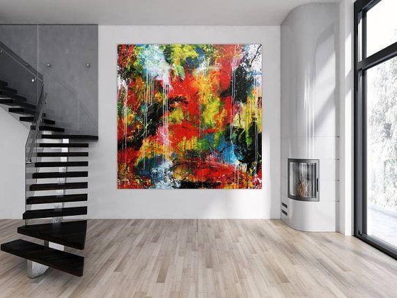 Abstrait Acrylique Peinture Xxl Peinture Moderne Grand Format Sur Toile 200x200cm 798 Interior Design Art Abstract Painting Acrylic Unique Paintings