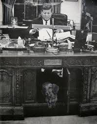JFK and dachshund