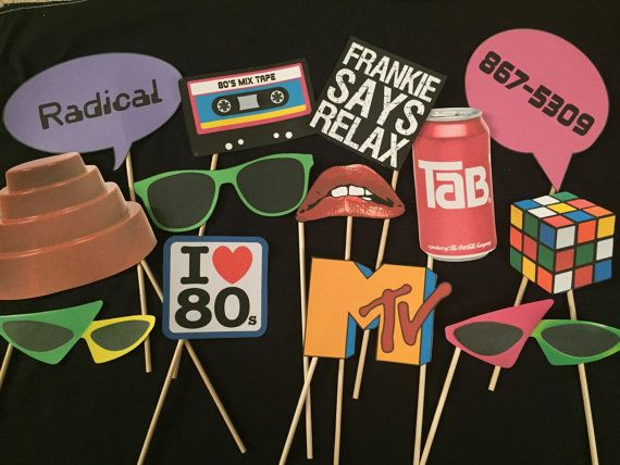 80s Themed Photo booth props. You get everything in the photo. These images are printed on card stock and come attached to a wooden dowel.