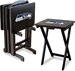 Imperial Officially Licensed NFL Merchandise: Foldable Wood TV Tray Table Set with Stand, Seattle Seahawks