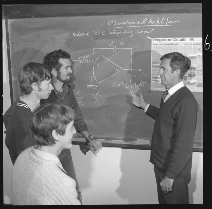 359619PD: Teacher with students learning about operational amplifiers at Mt Lawley Technical College, July 1972. http://encore.slwa.wa.gov.au/iii/encore/record/C__Rb3096418__S359619pd__Orightresult__U__X3?lang=eng&suite=def