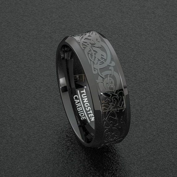 Tungsteno anillo elegante negro 8mm para hombre boda dragón celta banda en relieve biselado Edge Comfort Fit
