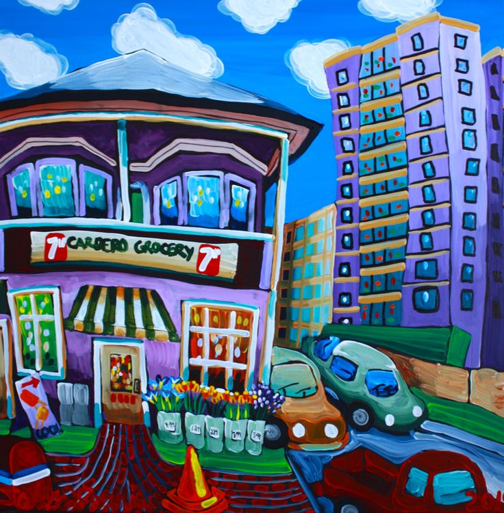 """Cardero Grocery, 28"""" x 40"""", acrylic on canvas with KRink, 2014"""