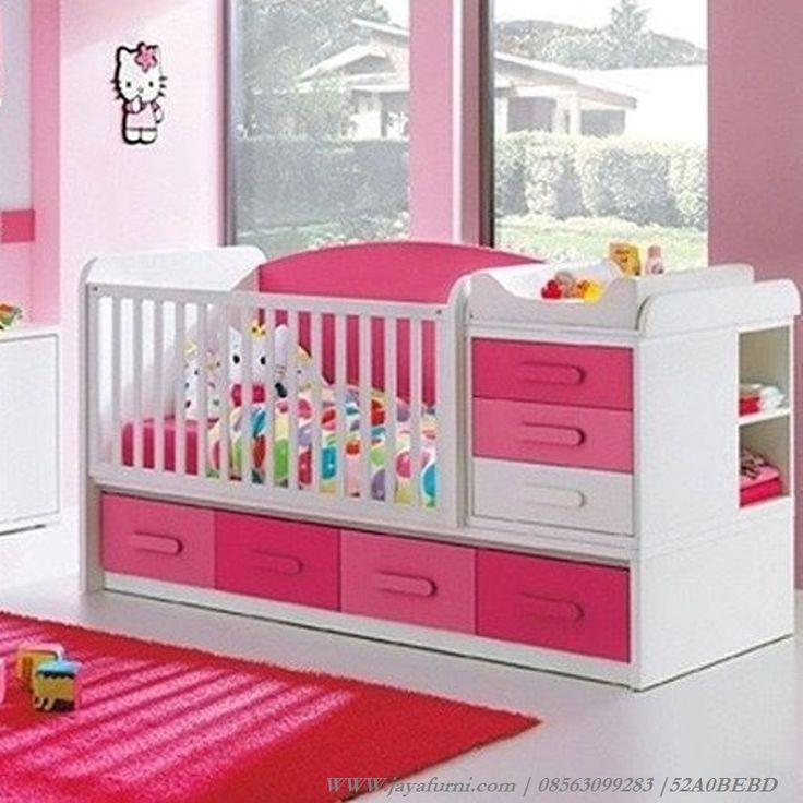 jual tempat tidur bayi cewek warna PinkLucu warna pink dengan laci dan…