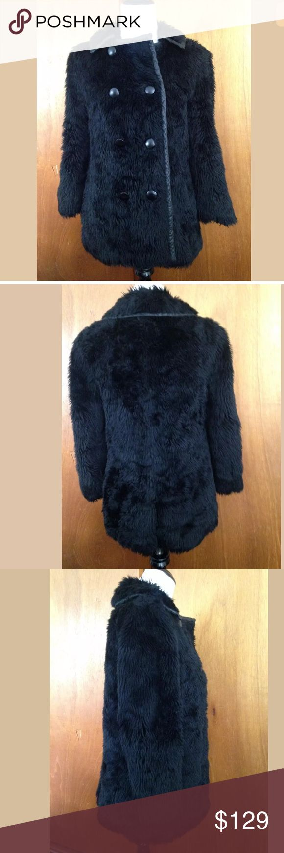 "MARC by MARC JACOBS Black Faux Fur Coat Sz S Marc by Marc Jacobs Black Faux Fur Jacket Leather Trim SZ S  Size S Made in Finland Faux fur/leather trim Double breasted Laid flat this top measures 15"" shoulders, 34"" bust, 27"" in length, and 20"" sleeve length Marc by Marc Jacobs Jackets & Coats"