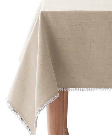 French Perle Natural Tablecloth #zulily #zulilyfinds