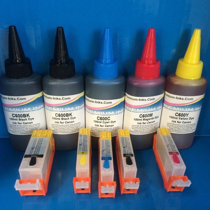 5 REFILLABLE CARTRIDGES  5X100ML PIGMENT/DYE INK FOR CANON PGI-525BK CLI-526 B/C/M/Y Non OEM
