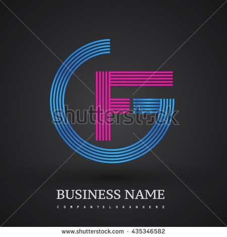Letter GF or FG linked logo design circle G shape. Elegant blue and red colored letter symbol. Vector logo design template elements for company identity.