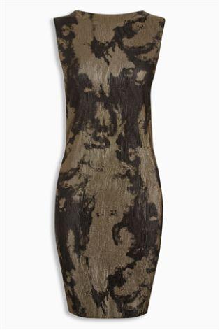 Black/Gold Metallic Printed Dress