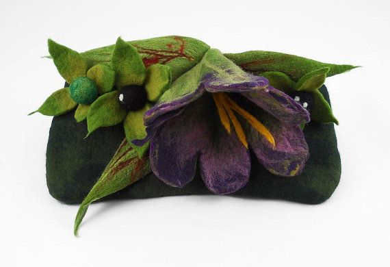 Felted Clutch Belladonna Bag (Atropa belladonna L.) poison POISONS handbag felt nunofelt Nuno felt Silk Silkyfelted Eco handmade green jade white poppy