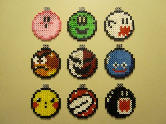 Handmade Nintendo Christmas Ball Ornaments perler beads by NestalgicBits