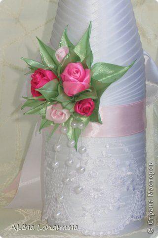 Декор предметов День рождения Свадьба Цумами Канзаши Первые свадебные бутылочки  Бусины Ленты фото 6