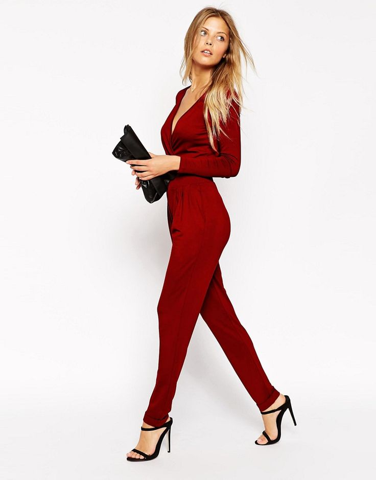 ASOS+Wrap+Front+Jersey+Jumpsuit+with+Long+Sleeves
