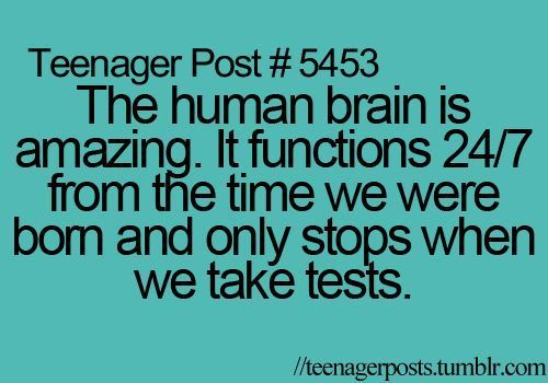 Teenager Post, I may not be a teenager, but boy do I relate to this...I have such bad memories of a blank mind when taking tests!