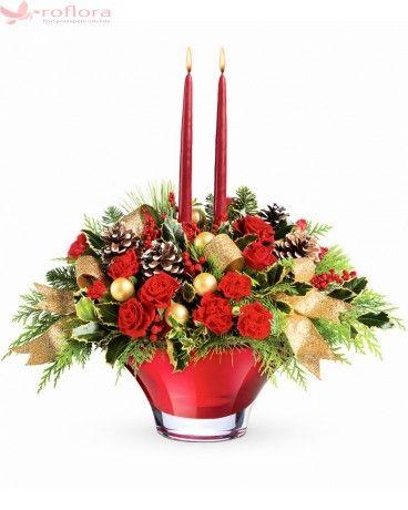 Festiv - Aranjament din trandafiri si garoafe