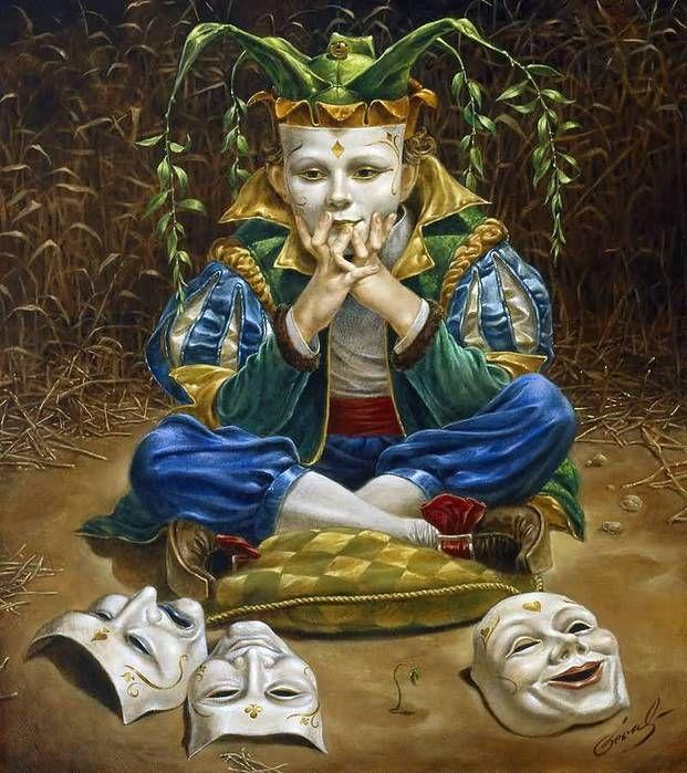 #despertar O chamado homem civilizado esqueceu-o.. Ele o recorda somente figurativa e metaforicamente, quando, irritado pela sua inaptidão, fala do destino pregando partidas ou de coisas que estão minadas. Ele nunca suspeita que sua própria sombra oculta e aparentemente inofensiva tem qualidades cujo perigo excede os seus mais loucos sonhos. ~ Carl Jung, Figura do Trapaceiro | Michael Cheval: