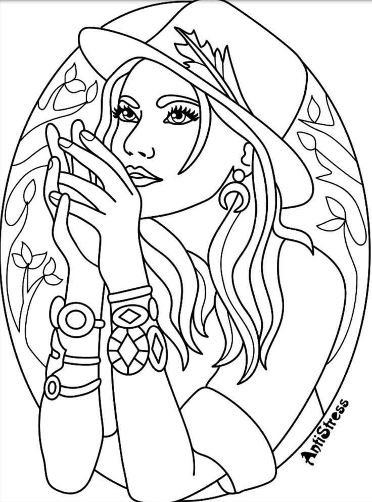 Coloring page Beautiful Women Coloring Pages for Adults