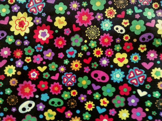 Flowers skulls and hearts 100 cotton fabric on black by JeAdore, $7.50