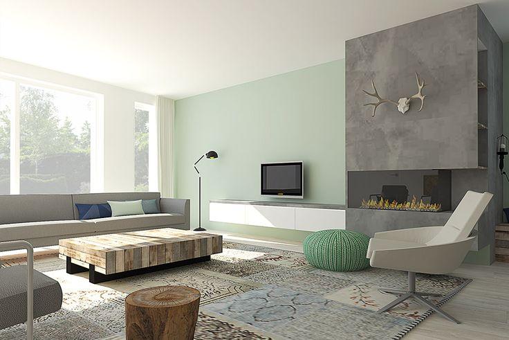 Scandinavisch interieur met beton steigerhout en een