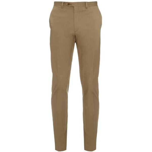 Brioni Megeve slim-fit cotton-blend trousers ($508) ❤ liked on Polyvore featuring men's fashion, men's clothing, men's pants, men's casual pants and khaki