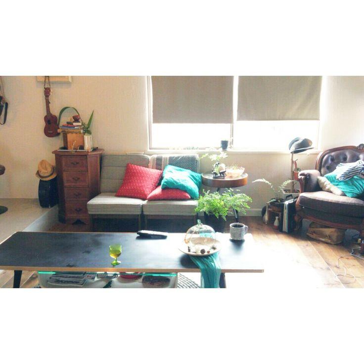 カリモク60/クッション/ロールカーテン/ニトリ/カリモク/ロールカーテン*ニトリ…などのインテリア実例 - 2014-07-10 13:45:57 | RoomClip(ルームクリップ)