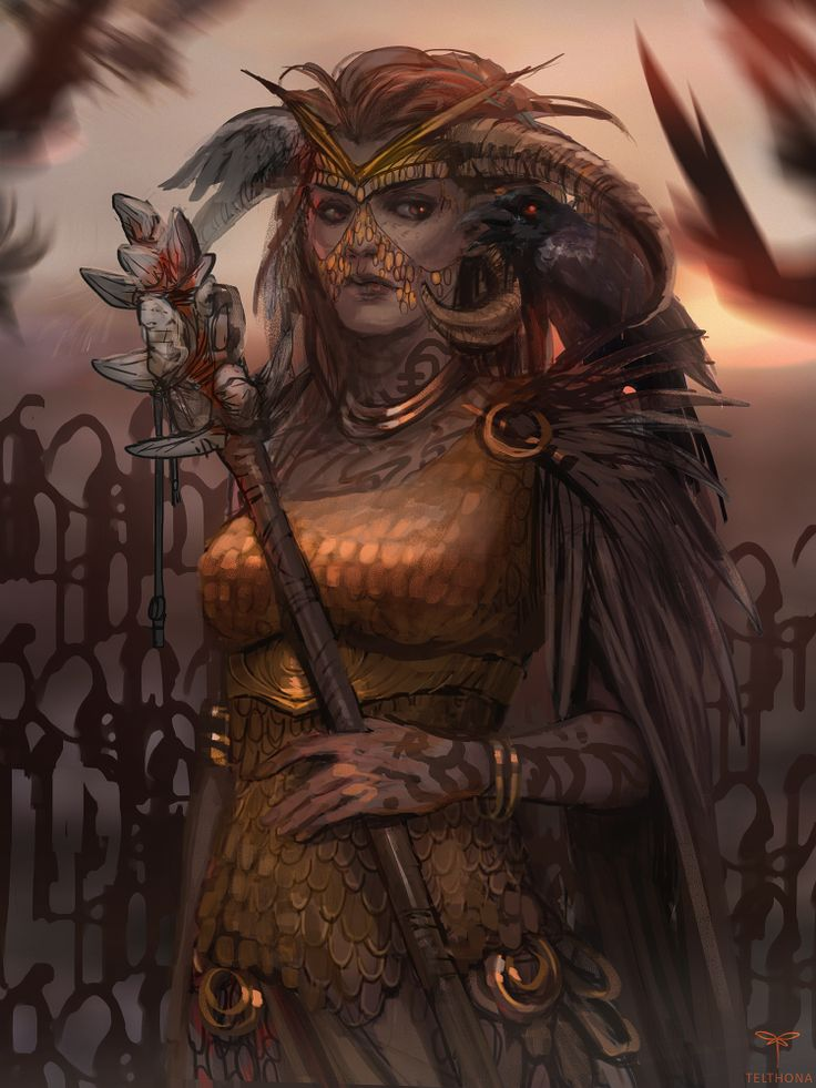 Great Shaman by telthona female wizard warlock witch doctor sorcerer sorceress druid tiefling demon devil armor clothes clothing fashion player character npc | Create your own roleplaying game material w/ RPG Bard: www.rpgbard.com | Writing inspiration for Dungeons and Dragons DND D&D Pathfinder PFRPG Warhammer 40k Star Wars Shadowrun Call of Cthulhu Lord of the Rings LoTR + d20 fantasy science fiction scifi horror design | Not Trusty Sword art: click artwork for source
