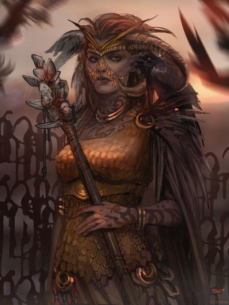 great shaman by telthona female wizard warlock witch