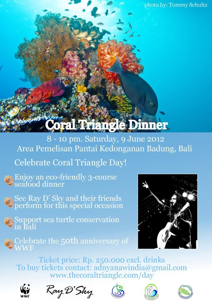 50th anniversary of WWF, support sea turtles, eco-friendly seafood dinner.  In Badung.