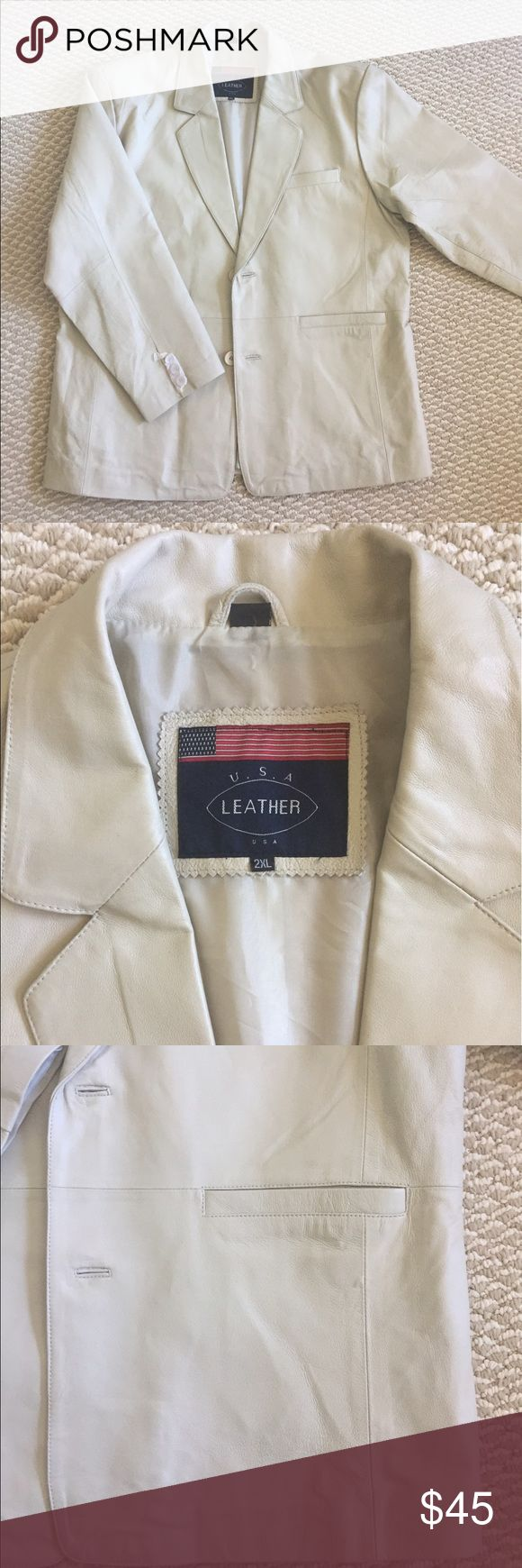 """Men's U.S.A. LEATHER leather jacket U.S.A. LEATHER leather jacket light gray in sz 2XL. Long sleeve, fully lined (100% nylon),front two buttons closure, one chest pocket inside and one outside, two front pockets. Measurements taken flat: chest 26"""",shoulders 21.5"""",sleeve 26"""",length 32""""(back).Condition: new (wrinkled, has stain and imprints from storage as pictured U.S.A. LEATHER Jackets & Coats"""