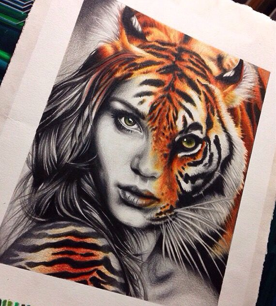 Amazing artwork! #drawing #tiger #girl