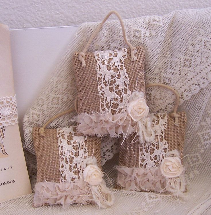 Shabby Chic Christmas Pillows : Christmas ornaments burlap feed sack mini pillows shabby chic THREE Lace, Sacks and Shabby chic
