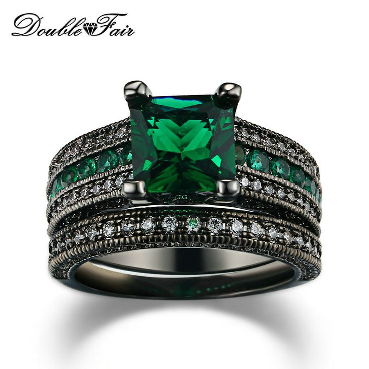 Cubic Zirconia Luxury Green Crystal Rings Sets Black Gold Plated Engagement / Wedding Ring Sets Fashion Women Jewelry DFR689