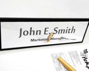 Personalised Acrylic & Mirror Desk Name Plate, Custom Name Plaque, Words, Boss Name, Bosses Day, Gift, Office Custom Design, Name Tag, Plexi
