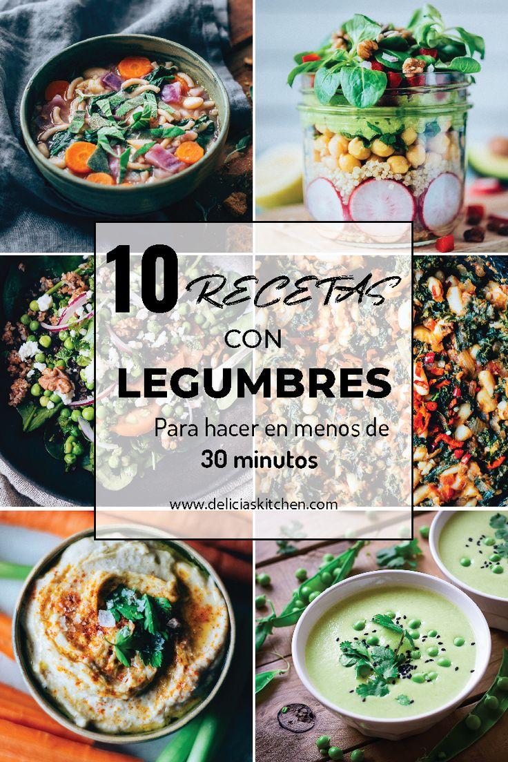 Recetas fáciles, sanas y rápidas que incluyen legumbres y se preparan en menos de 30 minutos. Son todas vegetarianas o veganas y deliciosas! #StayInspired #createtoinspire #sopas #ensaladas #recetas faciles #saludables #vegetariana #vegana #comida #sana #hummus | www.deliciaskitchen.com Vegan Lentil Soup, Lentil Stew, Vegetarian Soup, Healthy Soup Recipes, Chili Recipes, Curried Cauliflower Soup, White Bean Recipes, Veggies, Yummy Food