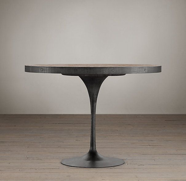 Aero Round Dining Table 1395 1795 1045 1345 Elm From Centuries Old Exterior Doors Is Set In A Cast Metal Base With An Oil Ru