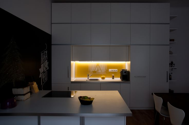 kitchen by night, with LED countertop-lighting