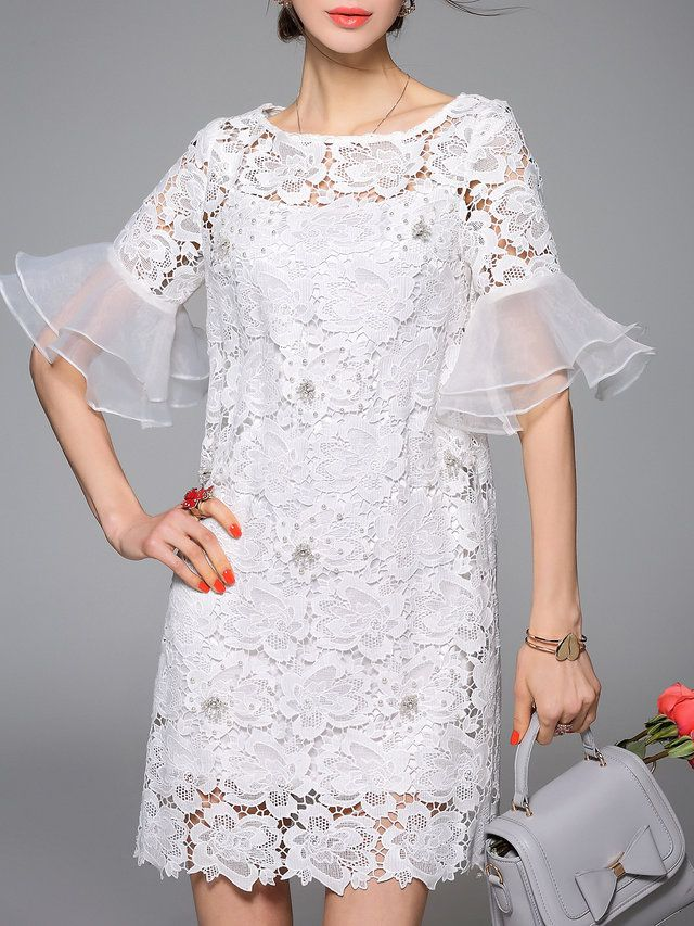 Frill Sleeve Casual Floral Pierced Crew Neck Mini Dress