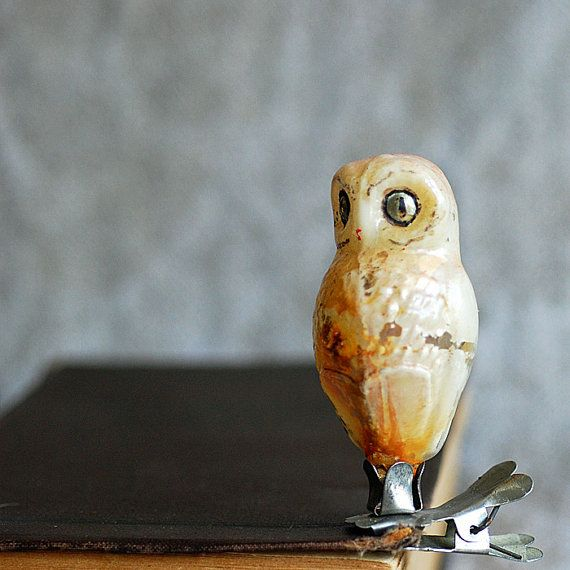 owl antique Christmas ornament с. 1950 by JunqueTreasures on Etsy