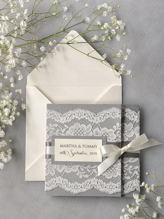Ivory Lace  Wedding Invitation, Grey Wedding Invitation, Pocket Fold Wedding Invitations , Vintage Wedding invitation on Etsy, £4.03