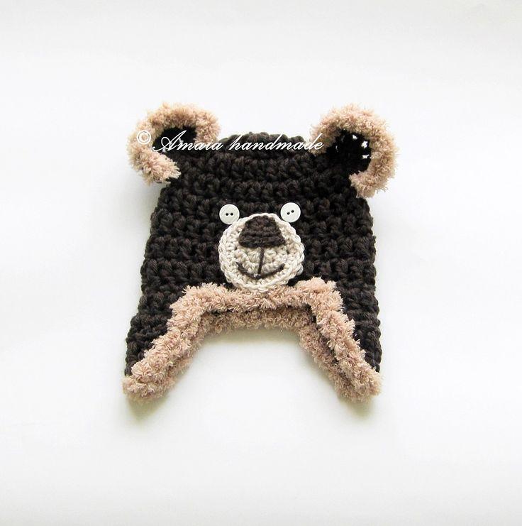 Crochet bear hat, baby bear hat, newborn bear hat, baby animal hat, baby bear outfit, baby photo prop, newborn photo prop, teddy bear hat by Amaiahandmade on Etsy