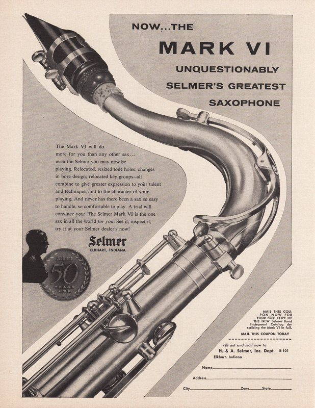 1954 SELMER SAXOPHONE Music Advertisement SAX Brass by phorgotten