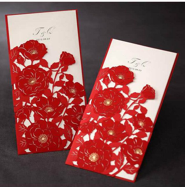 red floral laser cut wedding invitations