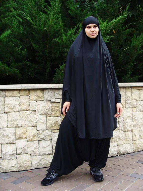 Popular black French khimar in sporty style with afghani pants. The Harem pants complete with a long hijab outfit ideal for sports, walks and picnics. This burka does not hinder you movements, lifting the leg or arm you will not be afraid to expose the body, as all the limbs are fixed - band and cuff. For young mothers the good news is that this costume is very easy to breast feed and chasing children on the Playground. And the best part is that this khimar is worn in just 1 minute. Does not…